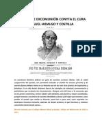 DECRETO DE EXCOMUNIÓN CONTRA EL CURA MIGUEL HIDALGO Y COSTILLA