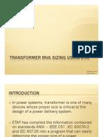 Transformer Sizing Using ETAP