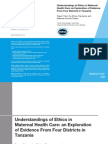Understandings of Ethics in Maternal Health Care