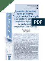 Piotr Cichocki, Piotr Kubiak, Dynamika niemieckiej opinii publicznej.Pozycja partii politycznych na podstawie sondaży i wyników wyborów do parlamentów krajowych (2011-2012)