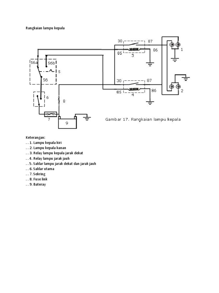 Wiring Diagram Lampu Kepala Jarak Pendek Simple Wiring Diagram
