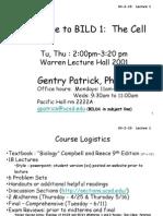Lecture 1 BILD1 UCSD