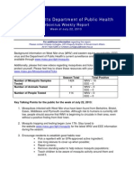 MA Dept of Public Health Weekly Mosquito Report & Prevention Tips