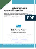 Liquid Dye Penetrant Test Inspection NDT Sample Procedure