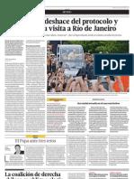 Francisco se deshace del protocolo y el boato en su visita a Río de Janeiro