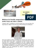 Médicos da Paraíba suspendem atendimentos nesta terça em todo o estado