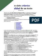 Los siete criterios de calidad de un texto