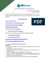 SBI General Insurance Recruiting for Various Vacancies