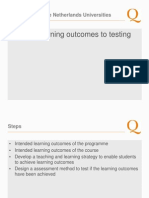 From learning outcomes to testing