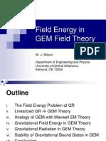 Field Energy in GEM Field Theory