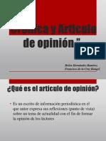 Crónica y Articulo de opinión