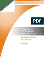 Programas de Estudio 2011. Secundaria . Historia.