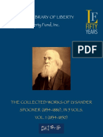 INGLES- SPOONER the Collected Works of Vol. 1 (1834-1850) [2010]