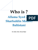 Who is Allama Syed  Ali Sharfuddin Moosvi Baltistani