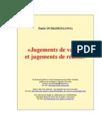 Durkheim - Jugements de valeurs et jugements de realité