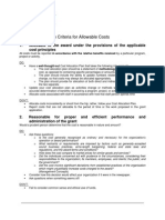 OMB Circular Criteria for Allowable Costs