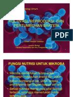 Kultivasi Reproduksi Dan Pertumbuhan Bakteri