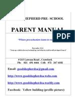 Good Shepherd Christian Preschool - Parent Manual 2013