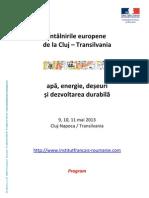 "Program conferinta - Les Rencontres Europeens de Cluj"" in limba romana - Mai2013"