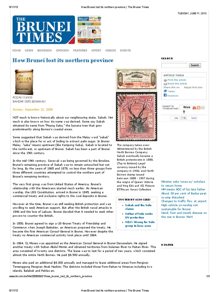 How Brunei lost its northern province _ The Brunei Times pdf