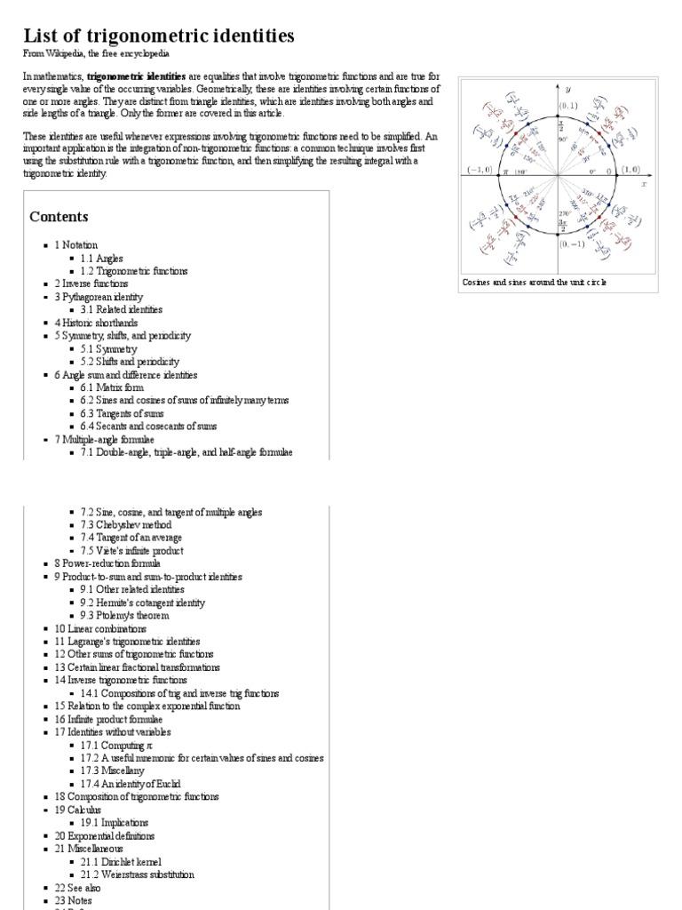 List of trigonometric identities - Wikipedia, the free