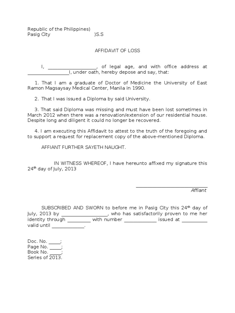 Sample Affidavit of Loss of a Diploma – Sample Affidavit