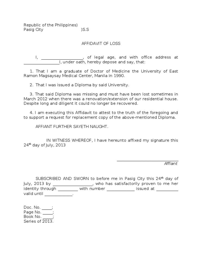 Sample Affidavit of Loss of a Diploma – Affidavit Word Template
