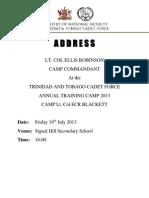 ADDRESS LT. COL ELLIS ROBINSON CAMP COMMANDANT AT THE TRINIDAD AND TOBAGO CADET FORCE ANNUAL TRAINING CAMP 2013