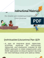 Instructional Materials for Cid and Down Dydrome