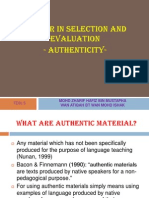 Factor in Selaection and Evaluation -Authenticity