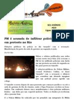 PM é acusada de infiltrar policial sem farda em protesto no Rio