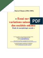 Mauss Essai Sure Les Variations Saisonnieres Des Societes Eskimo