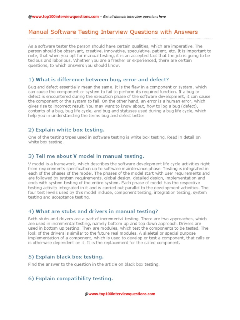 Manual Software Testing Interview Questions With Answers