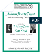 Alabama Possible-Alabama Poverty Project 20th Anniversary Sponsor Package