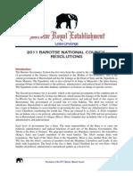 Barotse National Council Resolutions 2012