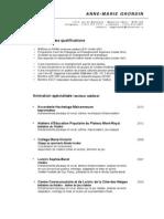 CV Animation Et Enseignement 2013