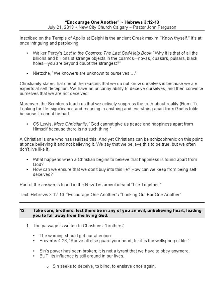 PDF Sermon Notes -- Encourage One Another | Jesus | Theology