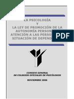 27874865 La Psicologia y La Ley de Promocion de La Autonomia Personal y Atencion a Las Personas en Situacion de Dependencia