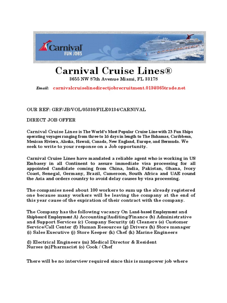 Carnival Job Offer | Travel Visa | Employment