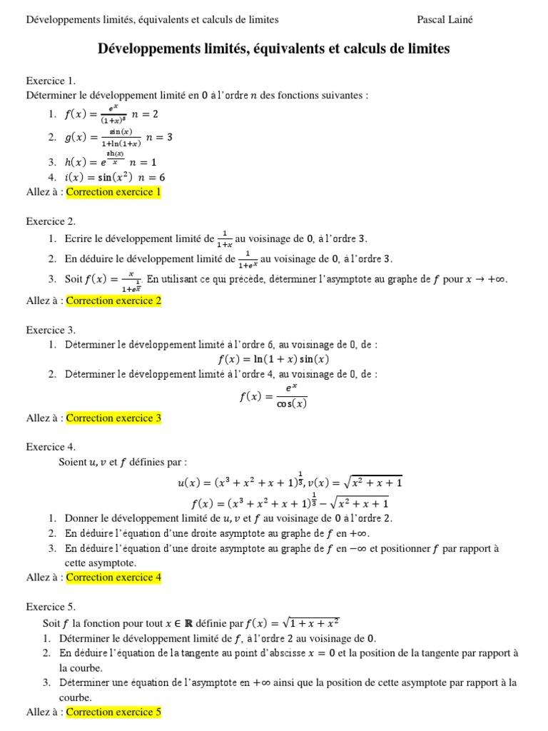 Exercices Corriges Developpements Limites Et Calculs De Limites Asymptote Tangente Geometrie