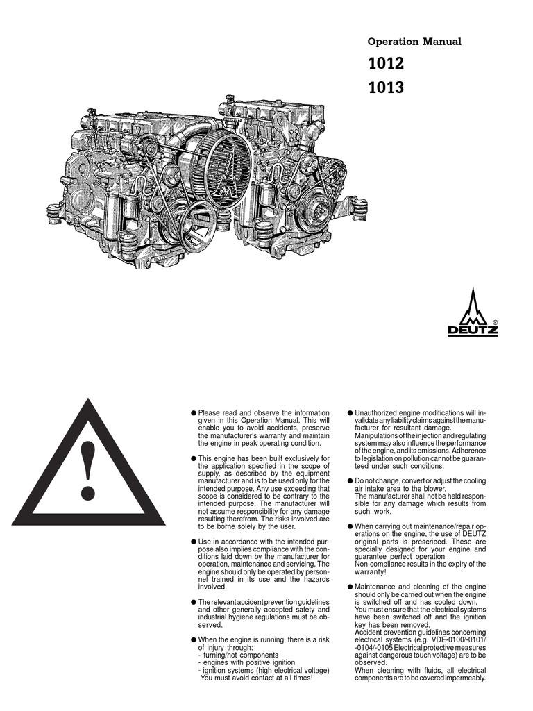 deutz bf6m 1013 operation manual | internal combustion engine | turbocharger