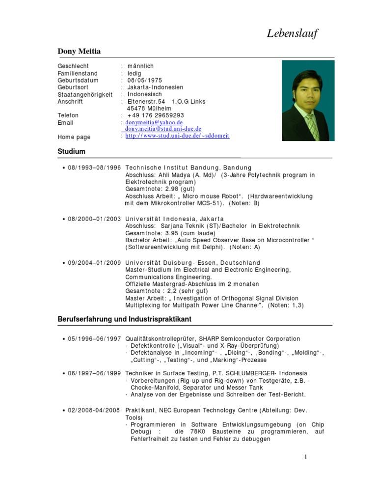 Ausgezeichnet Lebenslauf Für Bachelor Zulassung Ideen - Entry Level ...