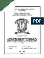 Implementacion de Recomendaciones de La Auditoria Gubernamental