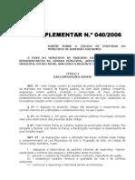 Lei Complementar 040-2006 Codigo Posturas