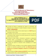 Nota interna nº 5 Organización de las enseñanzas universitar