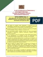 Nota Interna nº 9 Resumen RD ORDENACIÓN ENSEÑANZAS UNIVERSIT