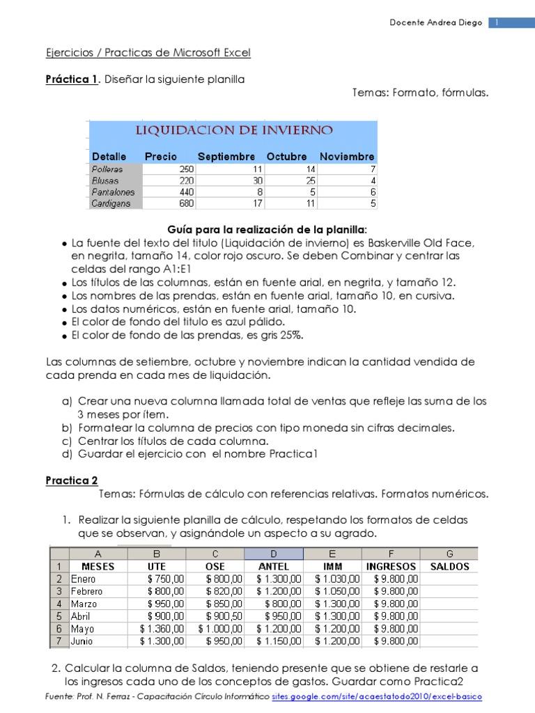 Ejercicios de Practica 20 A 20   Hoja de cálculo   Informática y ...