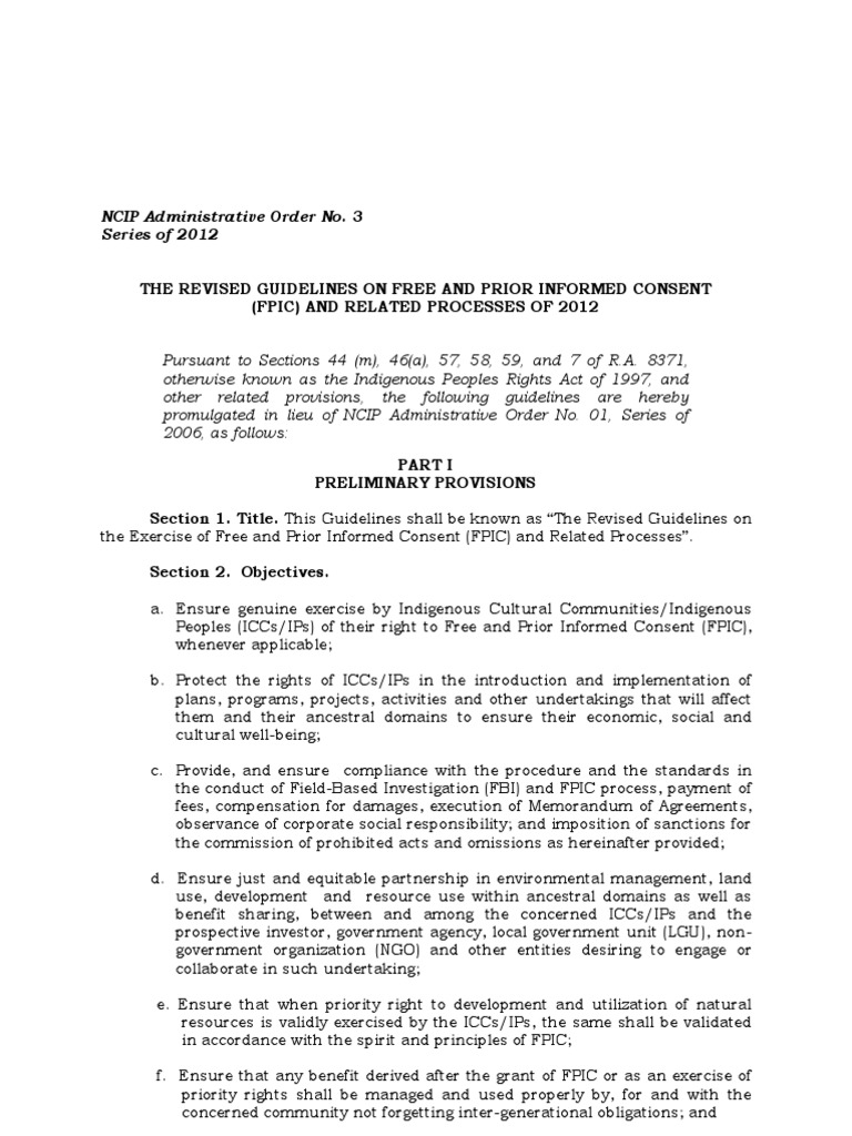 Ao 3 The Revised Guidelines On Fpic And Related Processes Of 2012 1