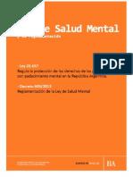 Ley Salud Mental y Decreto Reglamentario