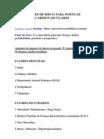 FATORES DE RISCO PARA DOENÇAS CARDIOVASCULARES